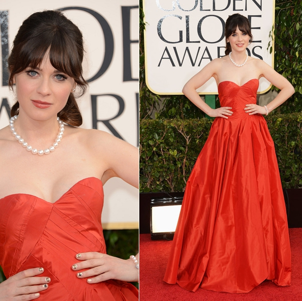 Loved, loved, loved Zoe Deschanel in Oscar De La Renta.