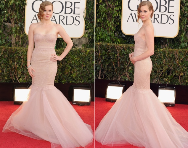 Loved Amy Adams in this blush color Marchesa.