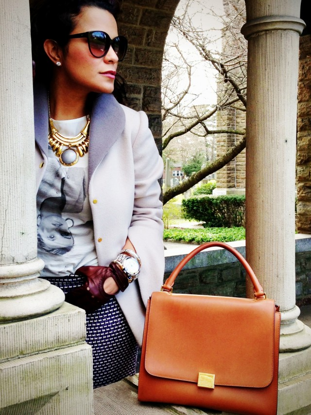 Watch by Michael Kors, sunglasses by Emporio Armani and Handbag by Celine.