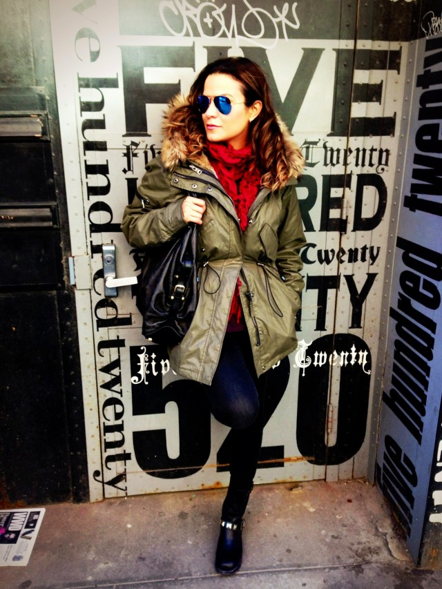 Jacket by SAM., panta by Seven For All Mankind, boots by Frye, bag by Louis Vuitton and glasses by Ray Ban.