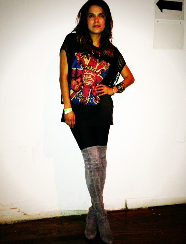 Vintage t-shirt, boots by Singer Morisson and bracelet by Hermes.