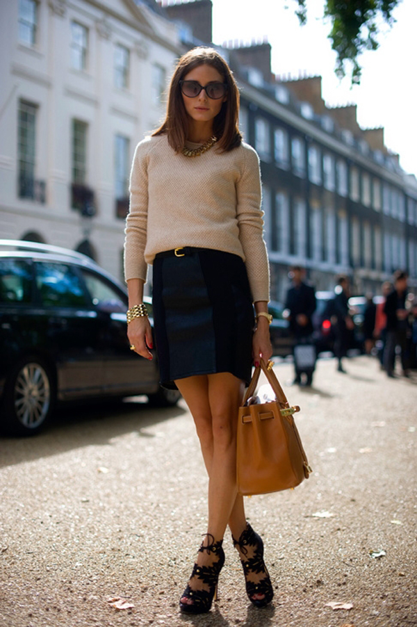 Olivia Palermo out in London wearing Christian Dior Cat Eye Sunglasses- Tan Hermes Birkin Bag- Charlotte Olympia Eve Shoes- Black Skirt- Cream Top-and Bold Gold Necklace.