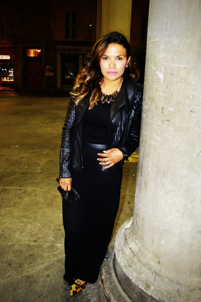 Dress by American Apparel, jacket by BCBG, shoes by Prada.